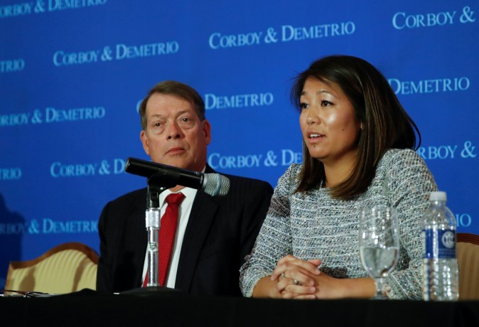 Crystal Dao Pepper, daughter of Dr. David Dao, speaks during a news conference at Union League Club in Chicago, Ill., on April 13, 2017.  (REUTERS/Kamil Krzaczynski)