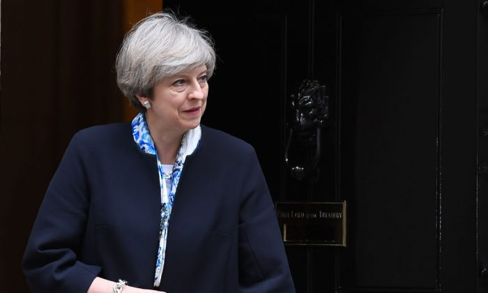 British PM Theresa May waits for European Council President Donald Tusk  outside 10 Downing street in central London on April 6, 2017. (JUSTIN TALLIS/AFP/Getty Images)