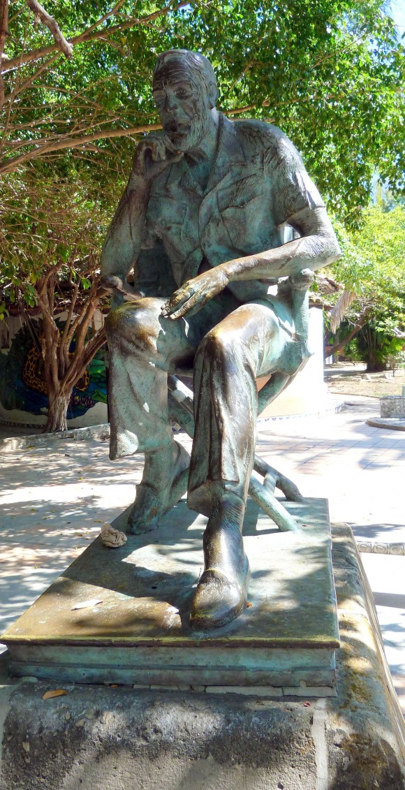 """Statue of director John Huston, erected in 1988 on the 25th anniversary of the filming of """"The Night of the Iguana."""" (Barbara Angelakis)"""
