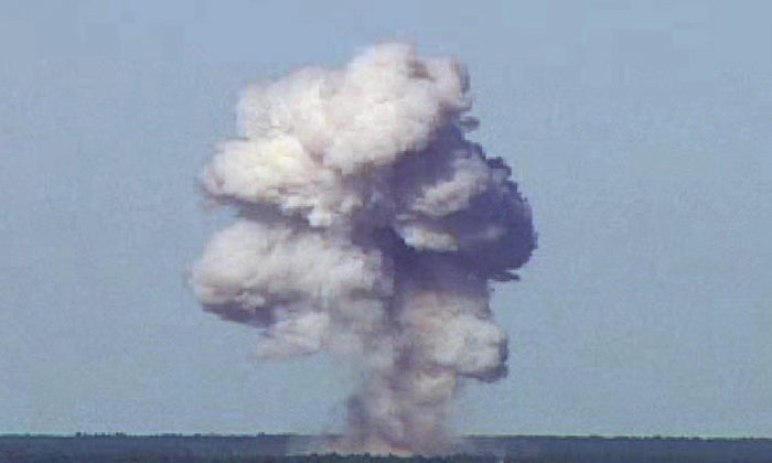The GBU-43/B, also known as the Massive Ordnance Air Blast, detonates during a test at Elgin Air Force Base, Fla., on Nov. 21, 2003 in this handout photo provided on April 13, 2017.  (REUTERS/U.S. Air Force photo/Handout via REUTERS)
