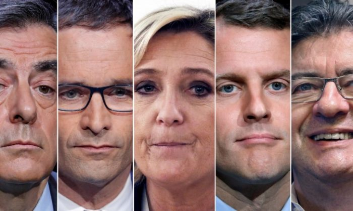 A combination picture shows five candidates for the French 2017 presidential election, (L-R) Francois Fillon, the Republicans political party candidate, Benoit Hamon, French Socialist party candidate, Marine Le Pen, French National Front (FN) political party leader, Emmanuel Macron, head of the political movement En Marche ! (Onwards !), Jean-Luc Melenchon, candidate of the French far-left Parti de Gauche, in Paris, France.  (REUTERS/Charles Platiau)