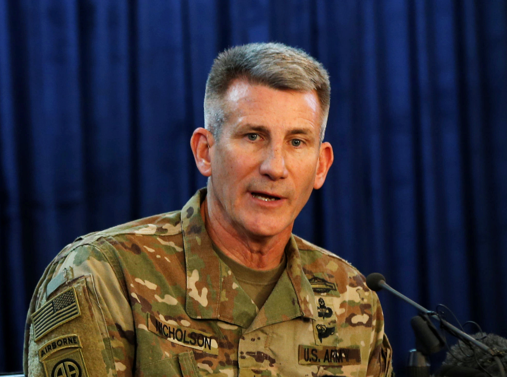 U.S. Army General John Nicholson, Commander of Resolute Support forces and U.S. forces in Afghanistan during a news conference in Kabul, Afghanistan on April 14, 2017. (REUTERS/Omar Sobhani)