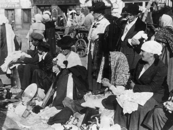 Women trying to sell their ornaments and clothes in a street market in October 1921, during the Russian famine of 1921–22. (Topical Press Agency/Getty Images)