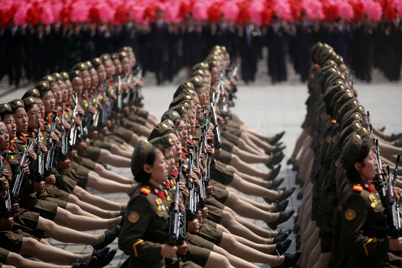 North Korean soldiers march and shout slogans during a military parade marking the 105th birth anniversary of country's founding father Kim Il Sung in Pyongyang, North Korea, April 15, 2017. (REUTERS/Damir Sagolj)
