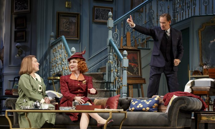 """(L–R) Kristine Nielsen, Kate Burton, and Kevin Kline in a scene from Noël Coward's """"Present Laughter."""" (Joan Marcus)"""
