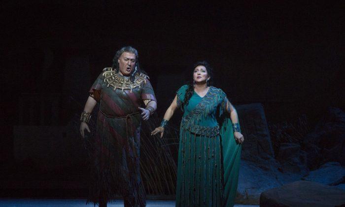 "George Gagnidze as Amonasro and Krassimira Stoyanova in the title role of Verdi's ""Aida."" (Marty Sohl/Metropolitan Opera)"