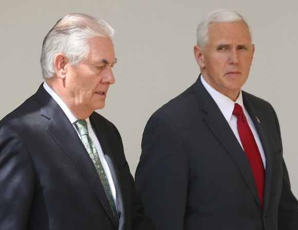 Vice President Mike Pence (R) and Secretary of State Rex Tillerson walk away from a news conference with U.S. President Donald Trump and King Abdullah II of Jordan, in the Rose Garden at the White House in Washington on April 5, 2017. President Trump held talks on Middle East peace process and other bilateral issues with King Abdullah II. (Mark Wilson/Getty Images)