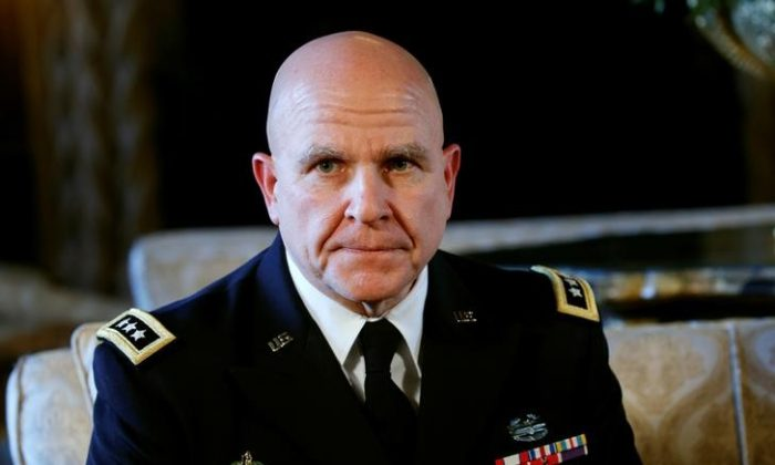 National Security Adviser Army Lt. Gen. H.R. McMaster listens as U.S. President Donald Trump makes the announcement at his Mar-a-Lago estate in Palm Beach, Fla., on Feb. 20, 2017. (REUTERS/Kevin Lamarque)
