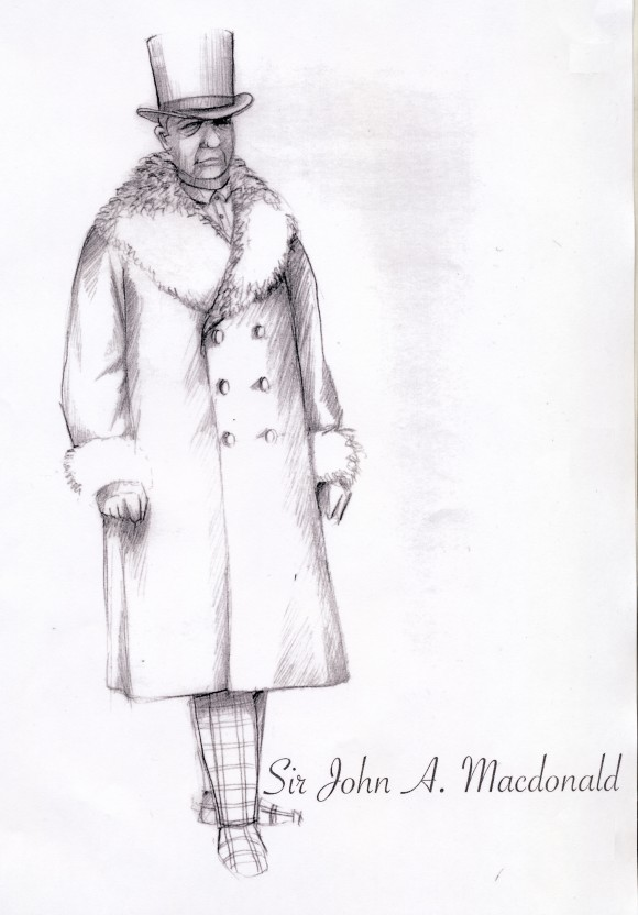 "A sketch of John A. Macdonald's costume in ""Louis Riel."" (Courtesy of the Canadian Opera Company)"