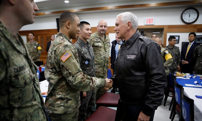 U.S. Vice President Mike Pence during a meeting with U.S. and South Korean soldiers at Camp Bonifas near the truce village of Panmunjom, in Paju, South Korea on April 17, 2017.  (REUTERS/Kim Hong-Ji)