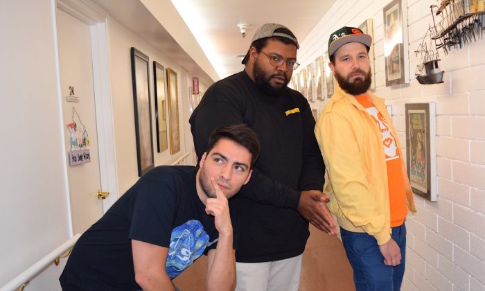 (L to R) Comedians Mark Hurtado, Jamel Johnson, and Joe Shelby pose for the camera at a Hilarity for Charity event at Glen Park Healthy Living in Glendale, Calif. on Apr. 12. (Sarah Le/Epoch Times)