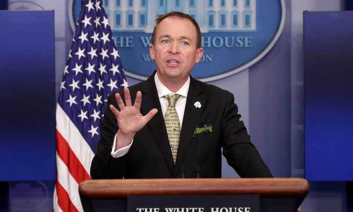Office of Management and Budget Director Mick Mulvaney takes questions from reporters during a briefing at the White House March 16, 2017. (Chip Somodevilla/Getty Images)