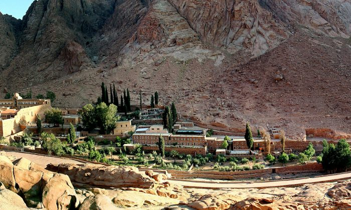 A general view of the Saint Catherine's monastery (far left) with its living and tourist facility in the Sinai peninsula of Egypt on May 18, 2005. (REUTERS/Aladin Abdel Naby)