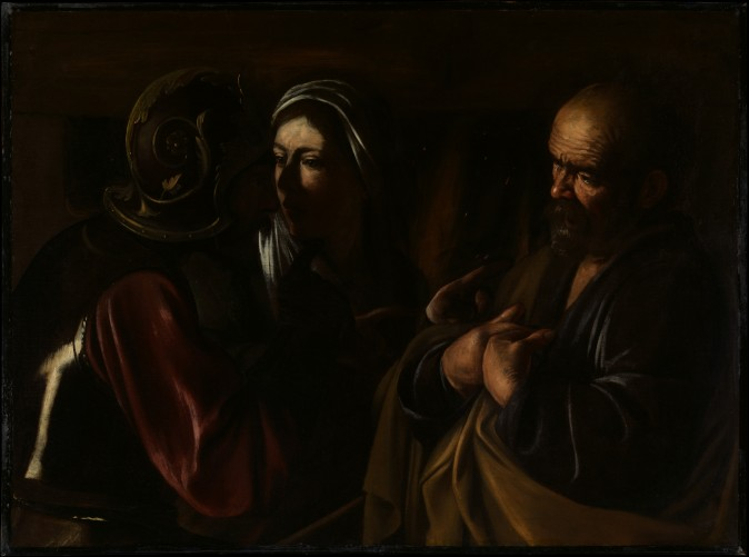 """The Denial of Saint Peter,"" 1610, by Caravaggio (Michelangelo Merisi, Italian 1571–1610). Oil on canvas, gift of Herman and Lila Shickman, and purchase, Lila Acheson Wallace Gift. (The Metropolitan Museum of Art)"