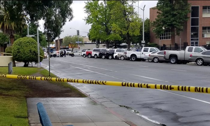 A road is blocked by police tape after a multiple victim shooting incident in downtown Fresno, Calif., on April 18, 2017. (Fresno County Sheriff/Handout via REUTERS)