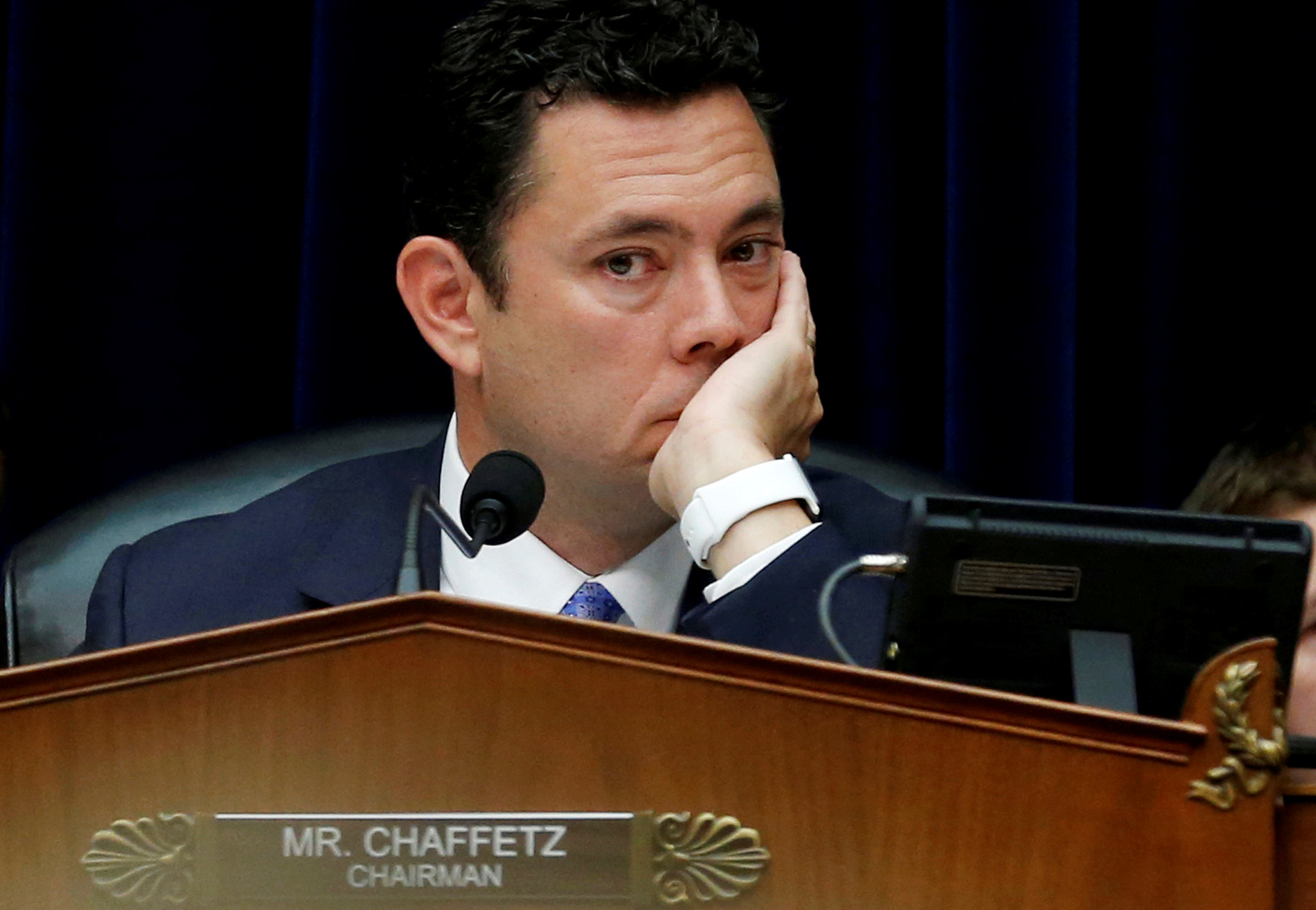 House Oversight and Government Reform Committee Chairman Jason Chaffetz (R-UT) during a committee hearing about the private email server of Democratic presidential nominee Hillary Clinton, used during her tenure as Secretary of State, on Capitol Hill in Washington on Sep. 13, 2016. (REUTERS/Jonathan Ernst)