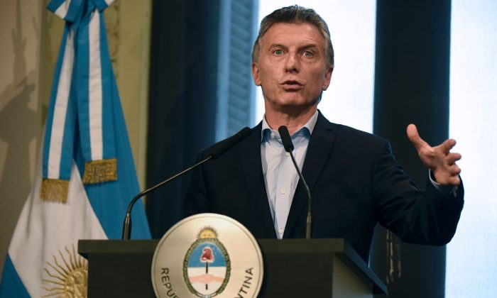 Argentine President Mauricio Macri at the Casa Rosada presidential palace in Buenos Aires on January 17, 2017. After years of socialist mismanagemet, his government is struggling with a legacy of money printing as the currency dropped 30 percent against the dollar in 2018. (EITAN ABRAMOVICH/AFP/Getty Images)