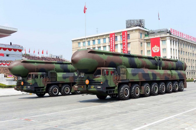 Ballistic missiles are displayed in a military parade in Pyongyang, North Korea on April 16. (STR/AFP/Getty Images)
