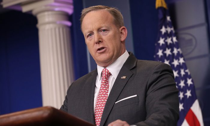 White House Press Secretary Sean Spicer answers reporters' questions during the daily press briefing at the White House in Washington on April 17, 2017. (Chip Somodevilla/Getty Images)