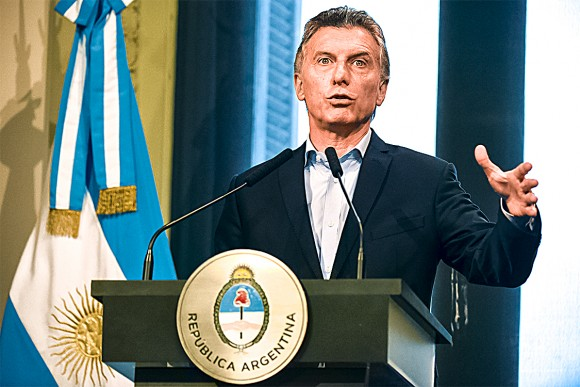 Argentine President  Mauricio Macri  in Buenos Aires on Jan. 17. After  16 months in office, Macri has pushed through many tough reforms. (EITAN ABRAMOVICH/AFP/Getty Images)