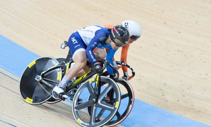 Hong Kong's leading rider, Sarah Lee  Wai Sze competing in the women's sprint, in the  World Indoor Cycling Champinships at the Hong Kong Velodrome  on  Thursday April 13. Dan Marchant)