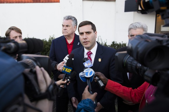 Suffolk County Police Commissioner Tim Sini outside a community forum held on April 18, 2017, less than a week after the bodies of four young men were found in Recreation Village Town Park in Central Islip, N.Y. (Samira Bouaou/The Epoch Times)