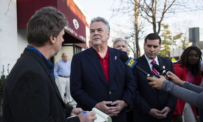 Rep. Peter King (R–N.Y.) outside a community forum on April 18, 2017, less than a week after the bodies of four young men were found in Recreation Village Town Park in Central Islip, N.Y. (Samira Bouaou/The Epoch Times)