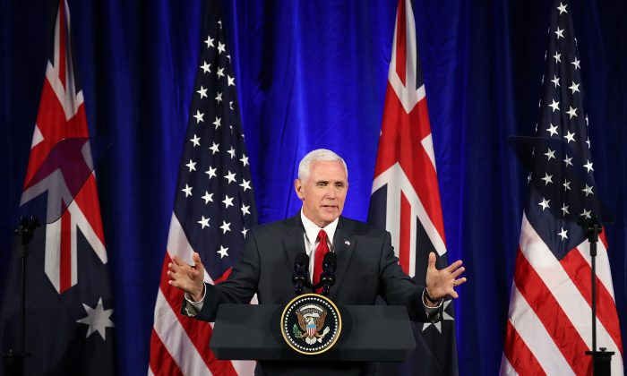 US Vice President, Mike Pence addresses business leaders at The InterContinental on April 22, 2017 in Sydney, Australia. (Brendon Thorne/Getty Images)