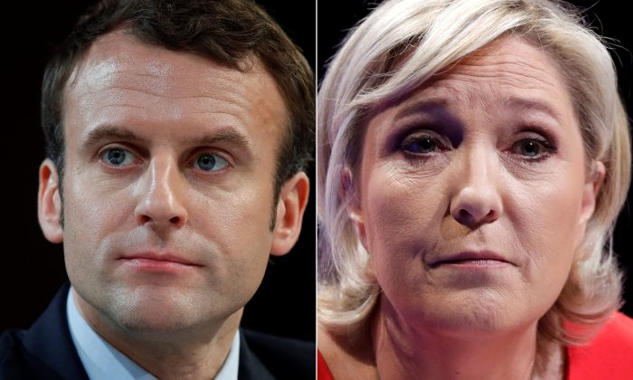 A combination picture shows portraits of the candidates who will run in the second round in the 2017 French presidential election, Emmanuel Macron (L), head of the political movement En Marche !, or Onwards !, and Marine Le Pen, French National Front (FN) political party leader.  Pictures taken March 11, 2017 (R) and February 21, 2017 (L).  (REUTERS/Christian Hartmann)