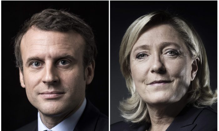French presidential election candidate for the En Marche ! movement Emmanuel Macron and French presidential election candidate for the far-right Front National (FN) party Marine Le Pen posing in Paris.