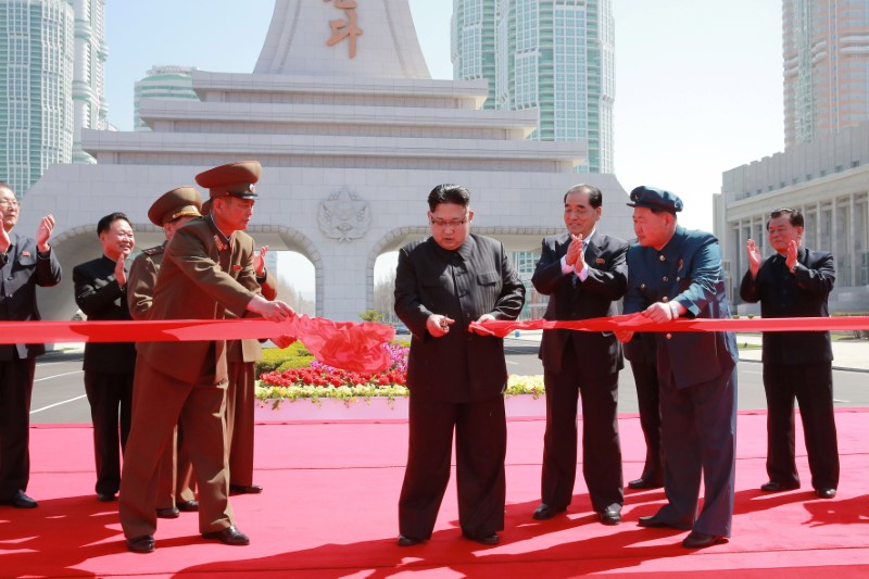 North Korea's leader Kim Jong Un cuts a ribbon during a ceremony in this undated photo released by North Korea's Korean Central News Agency (KCNA) in Pyongyang on April 16, 2017. (KCNA/via REUTERS)