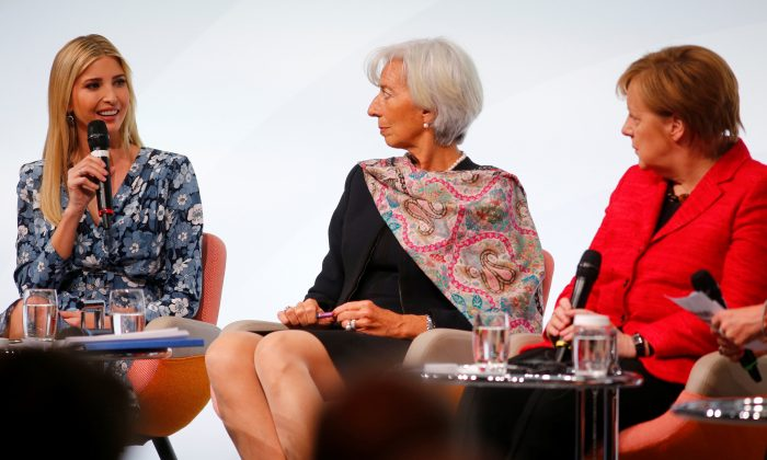"(L-R) Ivanka Trump, Christine Lagarde, Managing Director, International Monetary Fund and German Chancellor Angela Merkel attend the W20 Summit under the motto ""Inspiring women: scaling up women's entrepreneurship"" in Berlin, Germany on April 25, 2017.  (REUTERS/Hannibal Hanschke)"