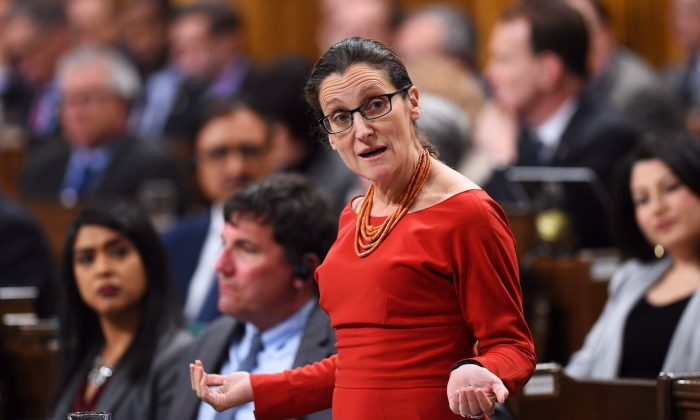 """Foreign Affairs Minister Chrystia Freeland during question period in the House of Commons on March 6, 2017. Freeland is shooting back at President Donald Trump's anti-Canadian trade rhetoric, saying she will be """"tough and strong"""" in fighting for Canada's economic interests with the United States. (THE CANADIAN PRESS/Sean Kilpatrick)"""