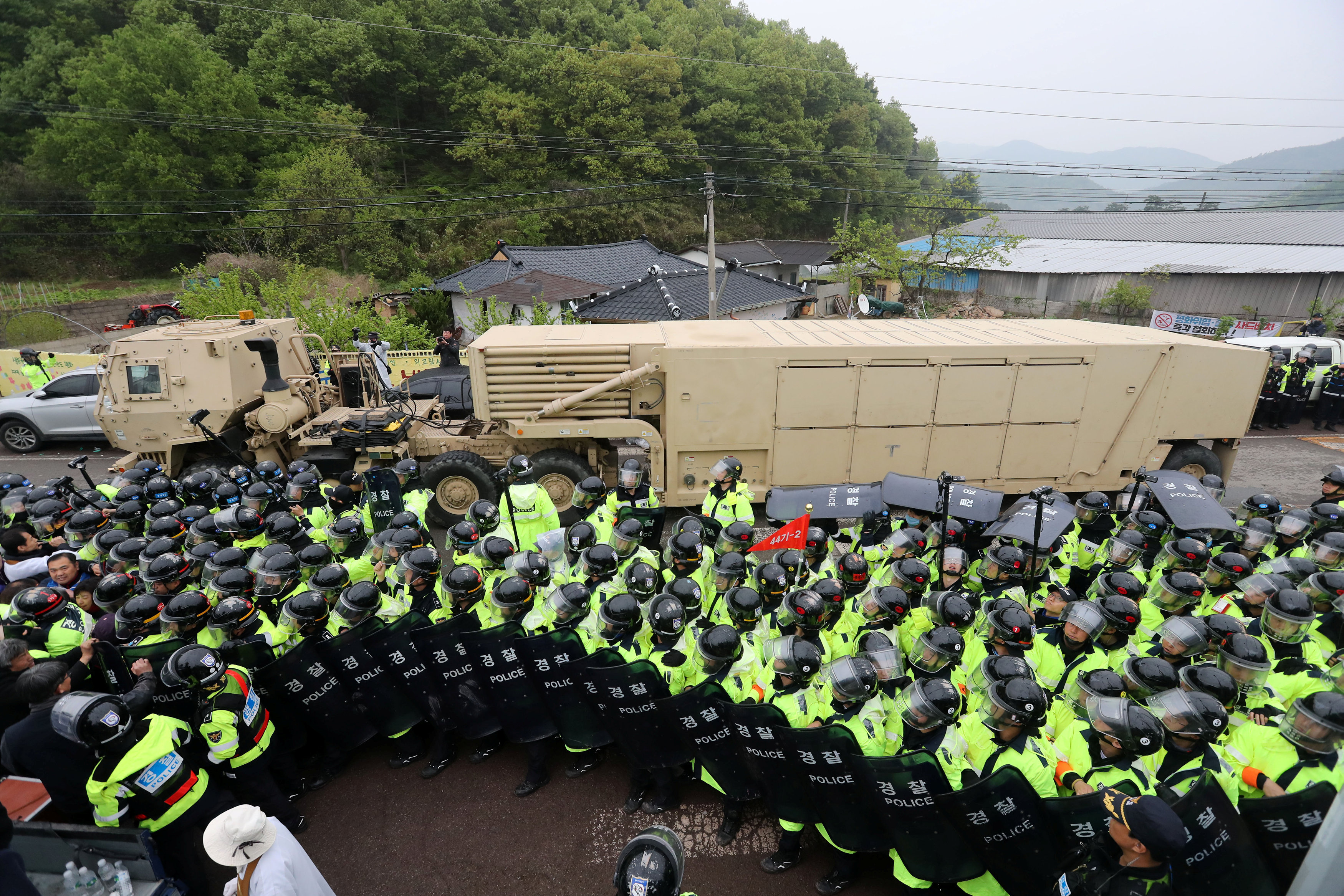A U.S. military vehicle which is a part of Terminal High Altitude Area Defense (THAAD) system arrives in Seongju, South Korea on April 26, 2017. (Kim Jun-beom/Yonhap via REUTERS)