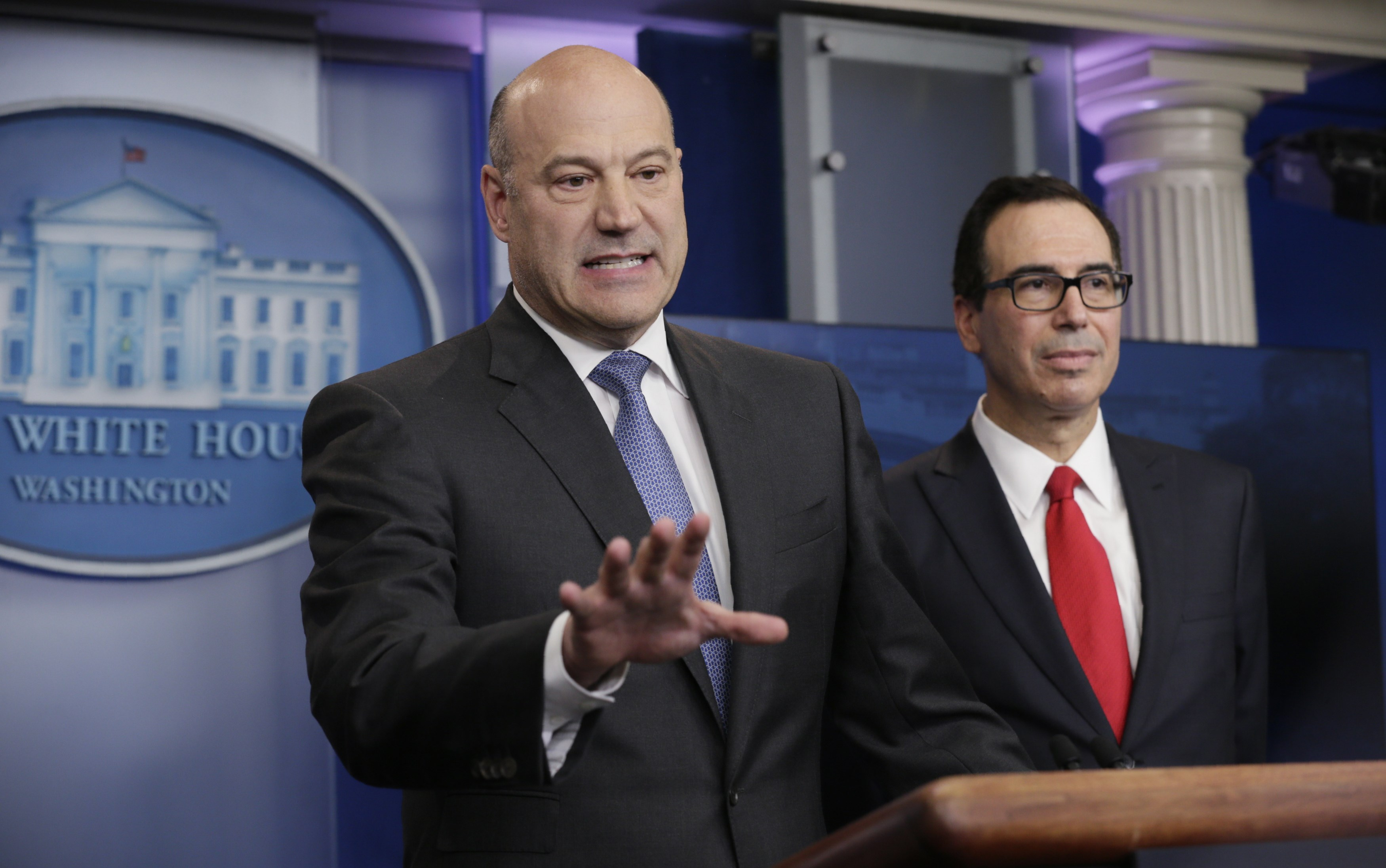 U.S. National Economic Director Gary Cohn (L) and Treasury Secretary Steven Mnuchin unveil the Trump administration's tax reform proposal in the White House briefing room in Washington on April 26, 2017. (REUTERS/Kevin Lamarque)
