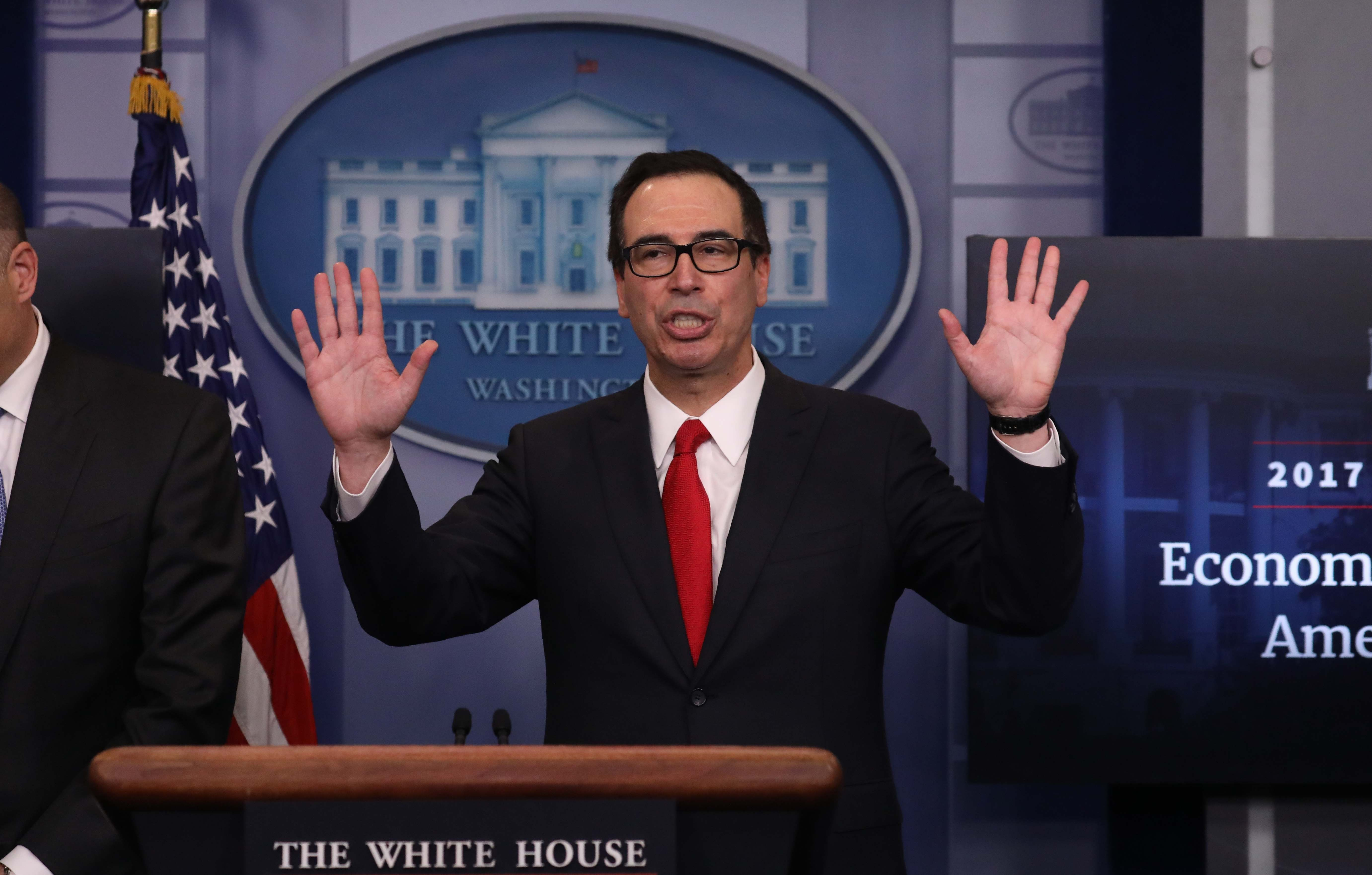 Treasury Secretary Steven Mnuchin ends a briefing after unveiling the Trump administration's tax reform proposal in the White House briefing room in Washington on April 26, 2017. (REUTERS/Carlos Barria)