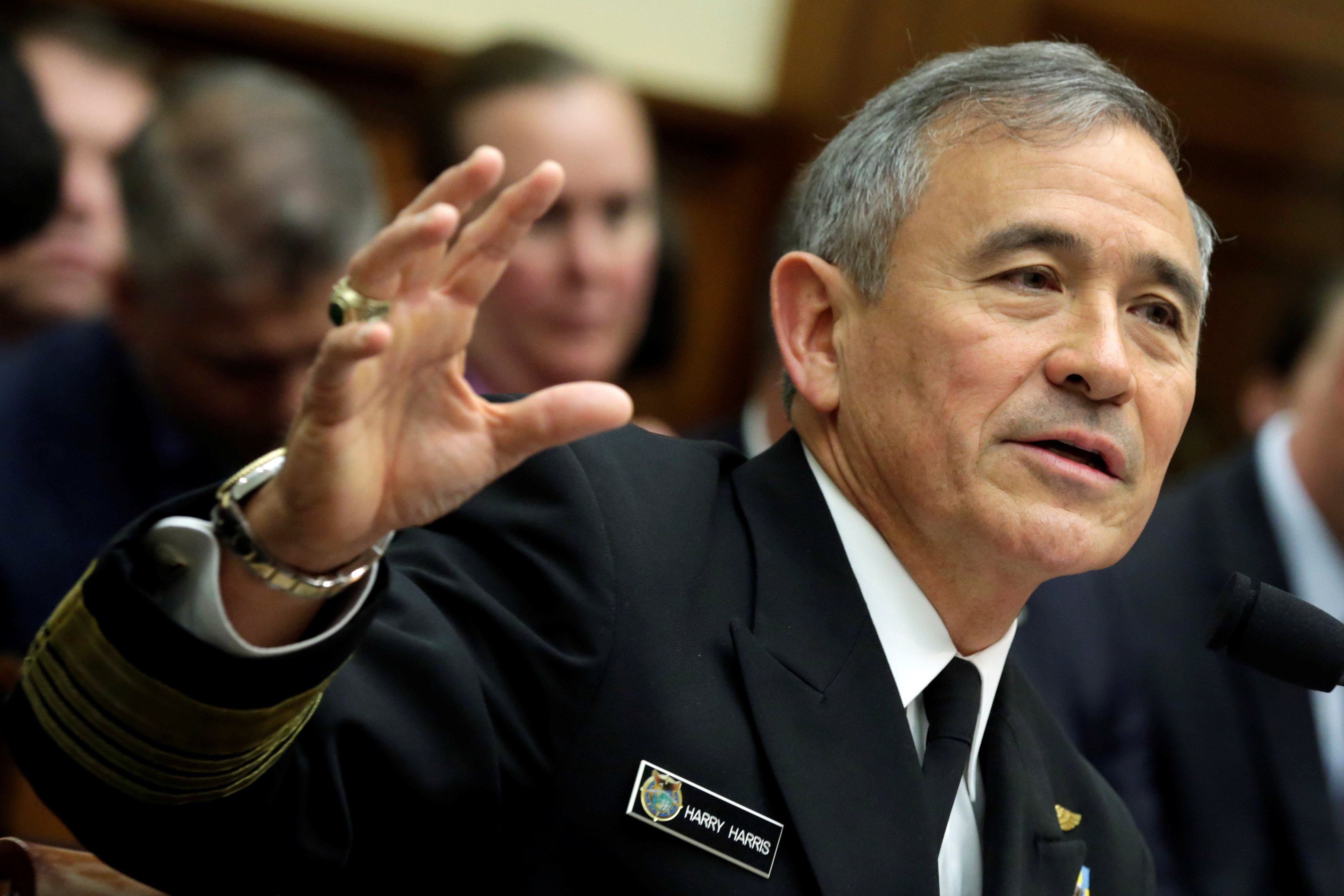"""The Commander of the U.S. Pacific Command, Admiral Harry Harris, testifies before a House Armed Services Committee hearing on """"Military Assessment of the Security Challenges in the Indo-Asia-Pacific Region"""" on Capitol Hill in Washington on April 26, 2017. (REUTERS/Yuri Gripas)"""
