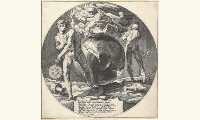 "Engraving by Jan Muller after Hendrick Goltzius's work depicting the ""Creation of the World,"" circa 1592. (Public domain)"