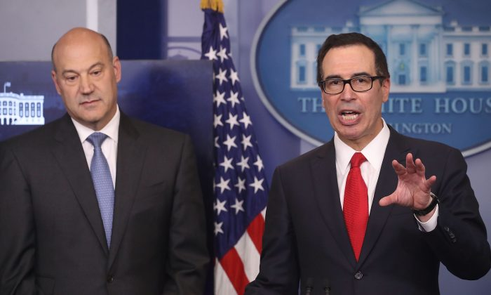 Secretary of the Treasury Steven Mnuchin (R) and chief economic adviser Gary Cohn speak about President Donald Trump's new tax reform plan during a briefing at the White House on April 26, 2017 in Washington, D.C. (Mark Wilson/Getty Images)
