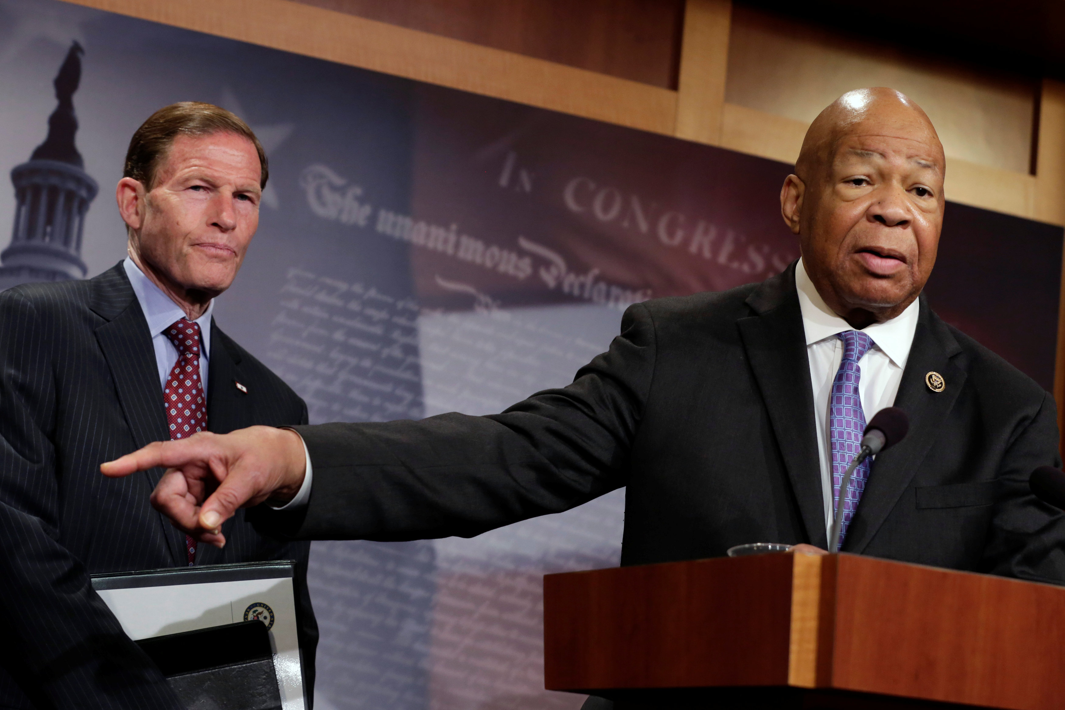 House Oversight and Government Reform Committee ranking member Representative, Elijah Cummings (D-MD) speaks about former national security adviser Michael Flynn during a news conference on President Trump's first 100 days on Capitol Hill in Washington on April 27, 2017. (REUTERS/Yuri Gripas)