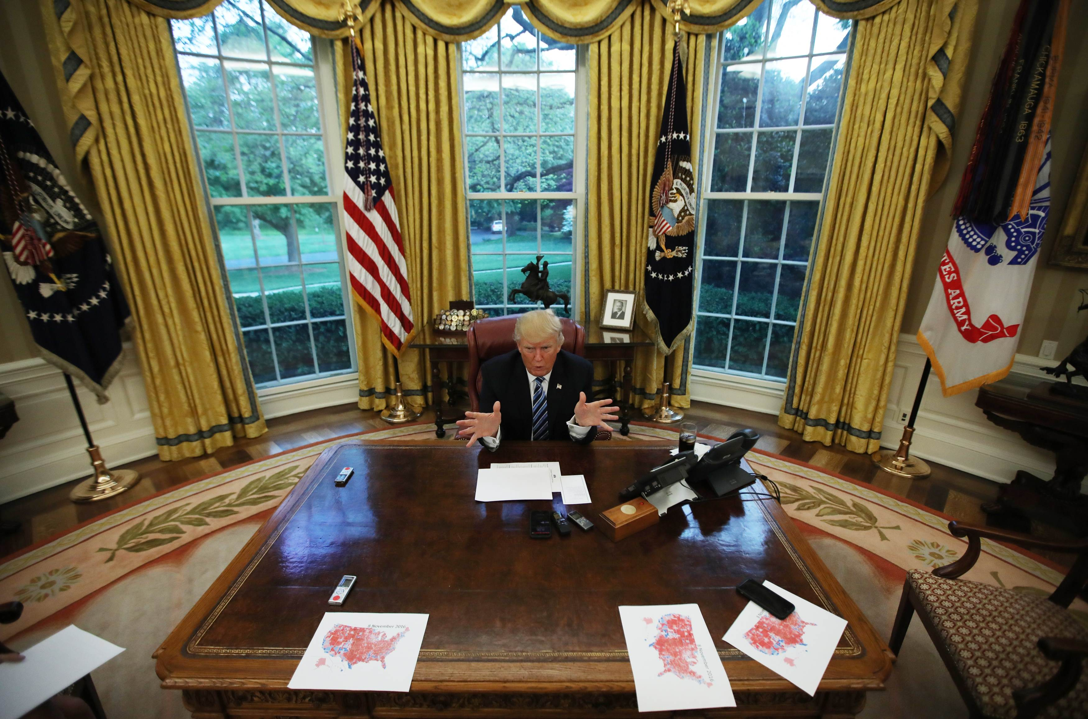 President Donald Trump during an interview with Reuters in the Oval Office of the White House in Washington on April 27, 2017. (REUTERS/Carlos Barria)