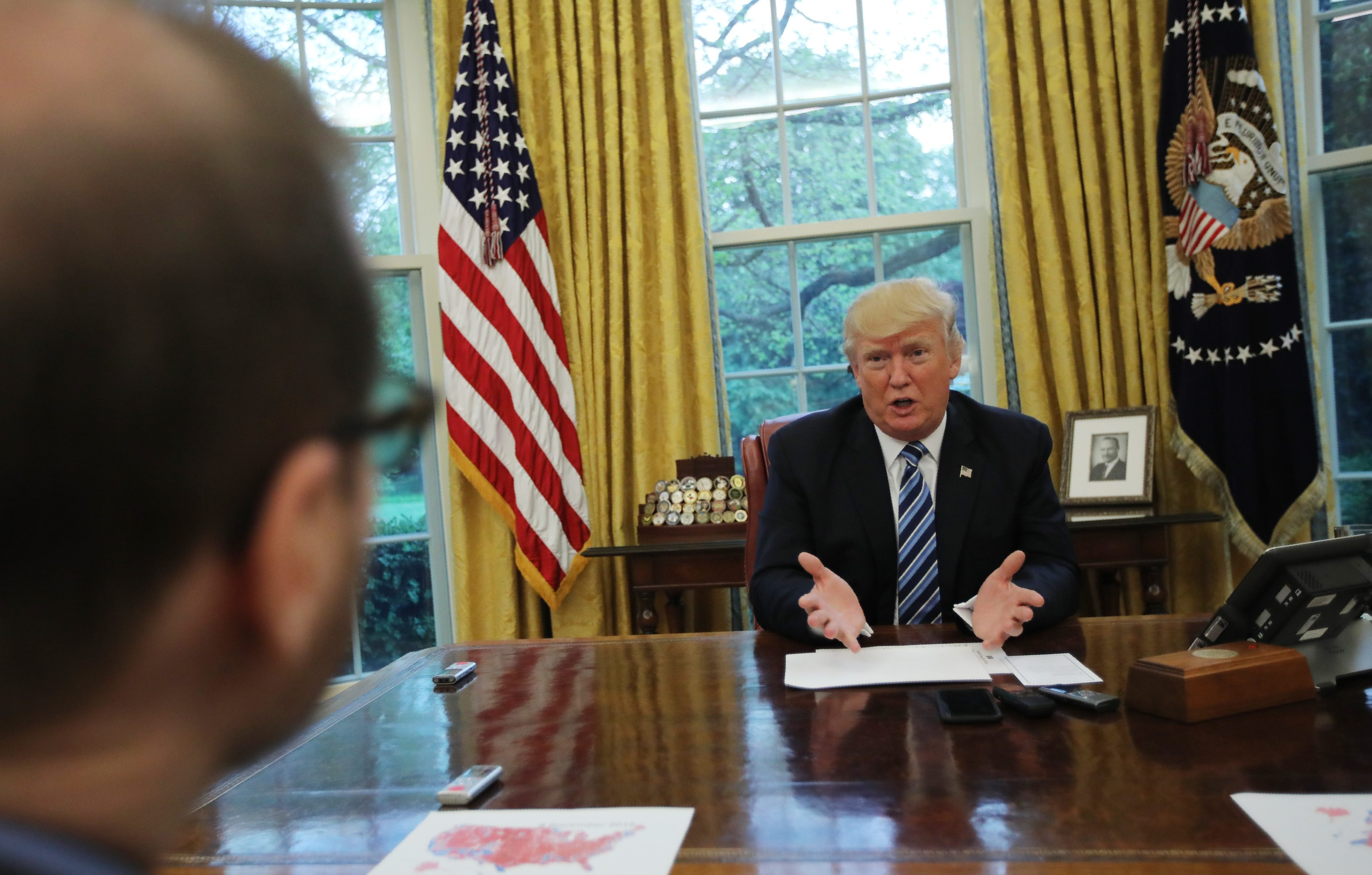 President Donald Trump speaks during an interview with Reuters in the Oval Office of the White House in Washington on April 27, 2017. (REUTERS/Carlos Barria)