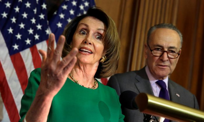House Minority Leader Nancy Pelosi (D-CA) next to Senate Minority Leader Chuck Schumer (D-NY) during a news conference on President Trump's first 100 days on Capitol Hill in Washington on April 28, 2017. (Yuri Gripas/Reuters)