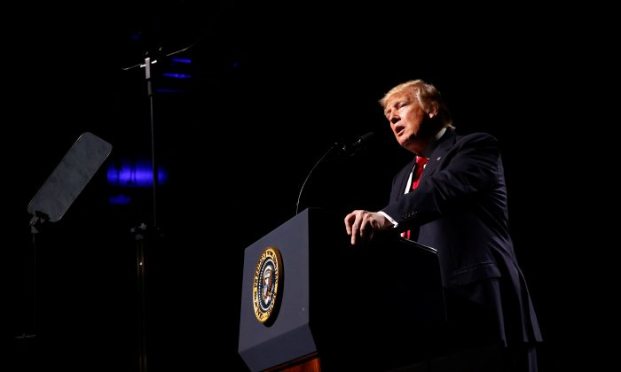 President Donald Trump at the National Rifle Association (NRA) Leadership Forum at the Georgia World Congress Center in Atlanta, Ga., on April 28, 2017. (Jonathan Ernst via Reuters)