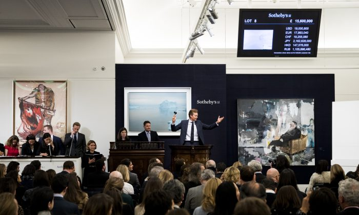 A Sotheby's contemporary art auction in London on March 8. (Tristan Fewings/Getty Images for Sotheby's)
