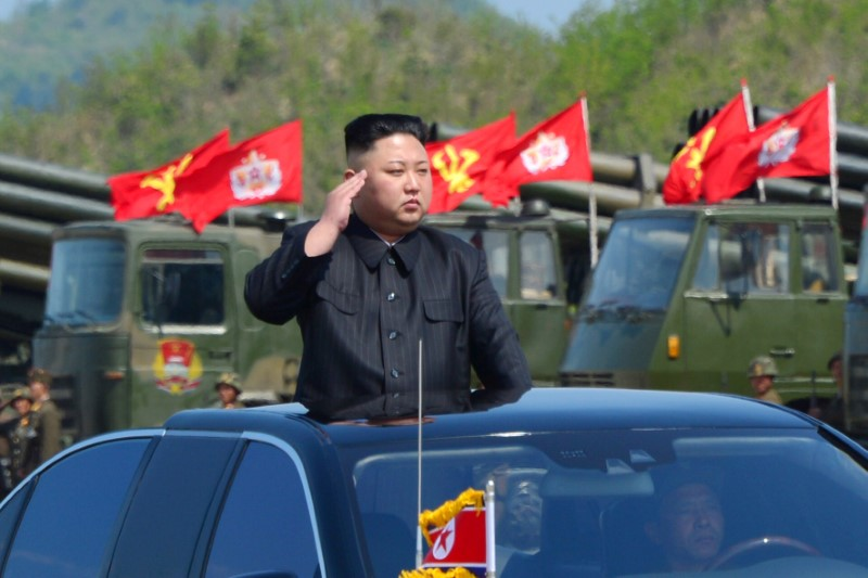 North Korea's leader Kim Jong Un watches a military drill marking the 85th anniversary of the establishment of the Korean People's Army (KPA) in this handout photo by North Korea's Korean Central News Agency (KCNA) made available on April 26, 2017. (KCNA/Handout via REUTERS)