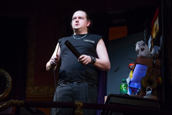 The sound and light technician Trevor (Rob Falconer) doesn't help the proceedings. (Jeremy Daniel)