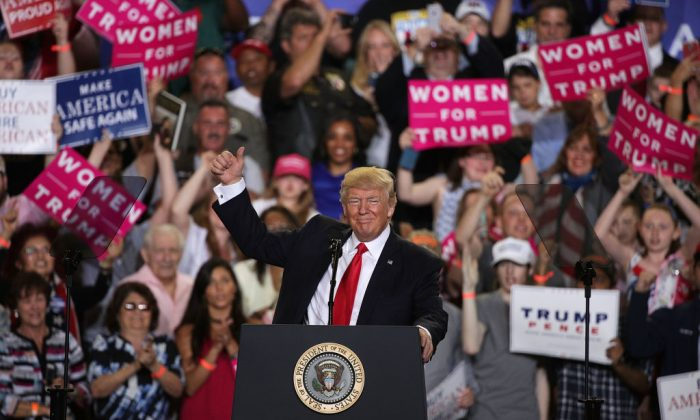 """President Donald Trump during a """"Make America Great Again Rally"""" at the Pennsylvania Farm Show Complex & Expo Center in Harrisburg, Pa., on April 29, 2017. (Alex Wong/Getty Images)"""