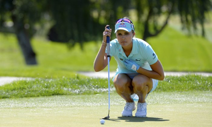 Lexi Thompson aims for a putt on the fourth hole during the final round of the ANA Inspiration on the Dinah Shore Tournament Course at Mission Hills Country Club on April 2, 2017 in Rancho Mirage, California. (Robert Laberge/Getty Images)