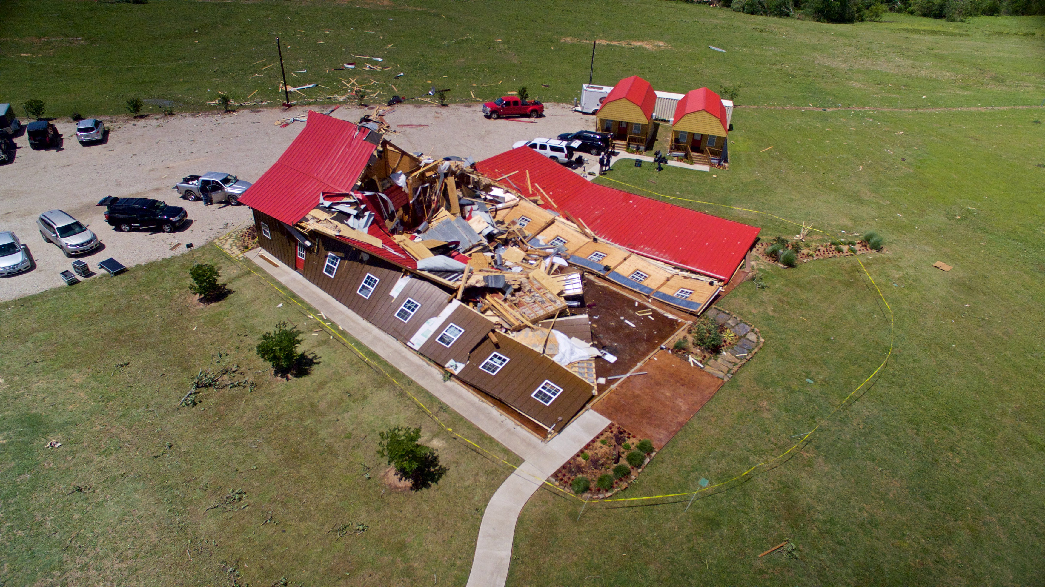 The Rustic Barn, an event hall, which suffered major tornado damage in Texas on April 30, 2017. (REUTERS/Brandon Wade)
